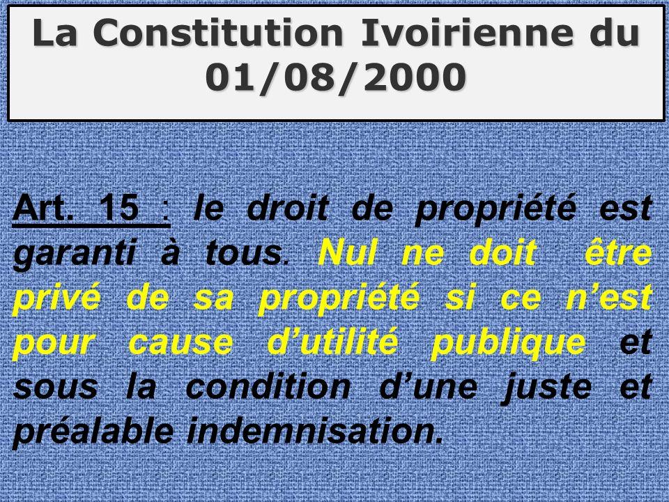 La Constitution Ivoirienne du 01/08/2000