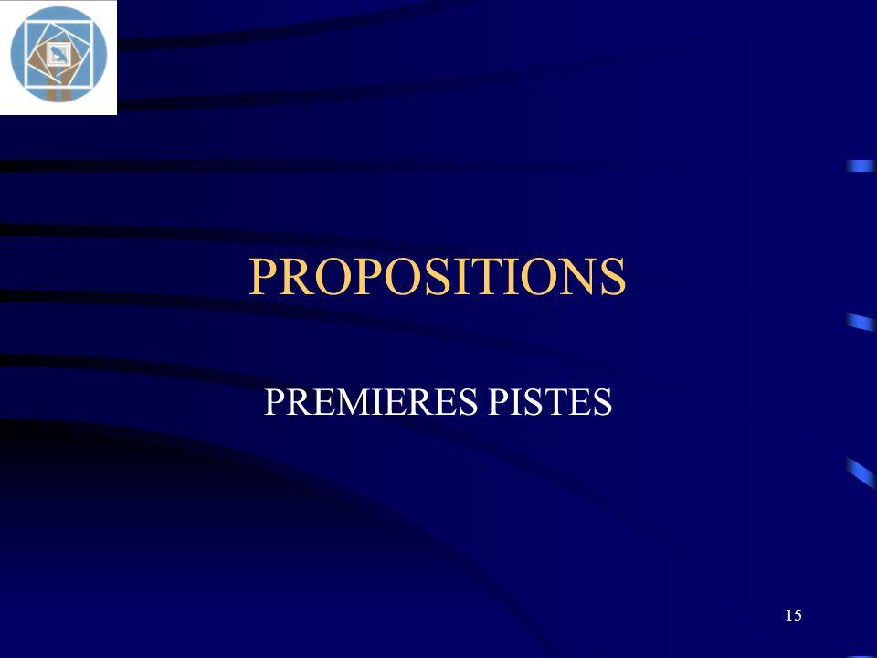PROPOSITIONS PREMIERES PISTES
