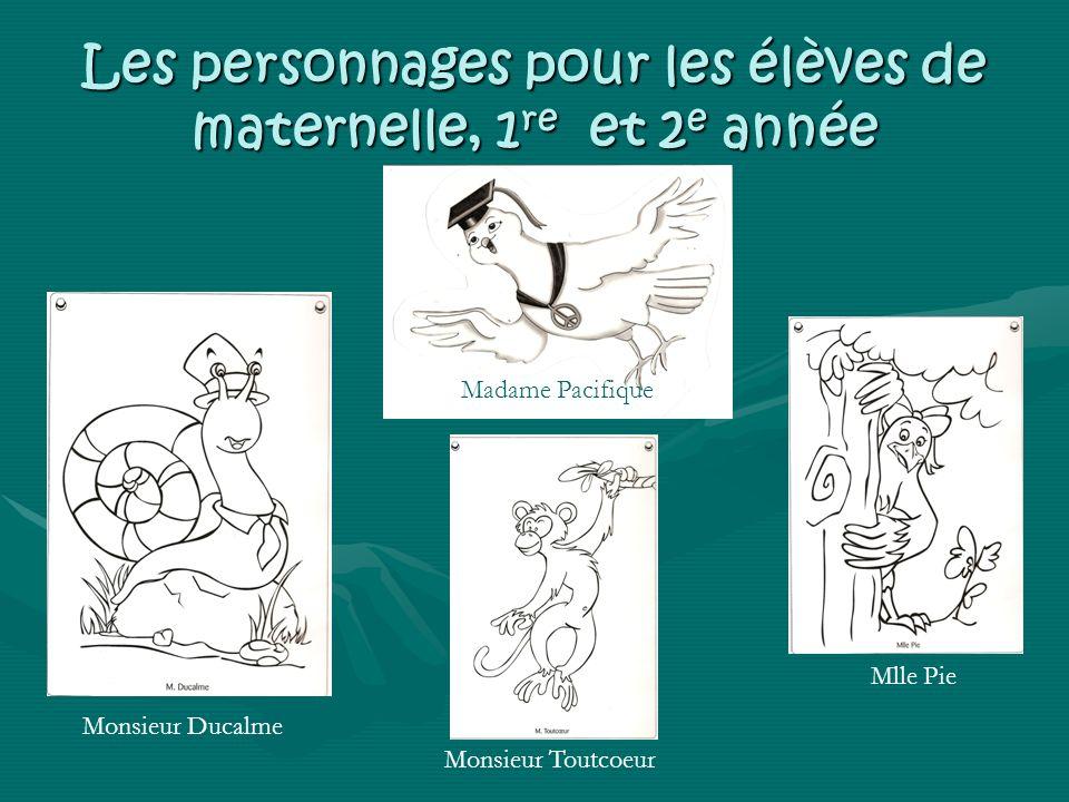 Les personnages pour les élèves de maternelle, 1re et 2e année