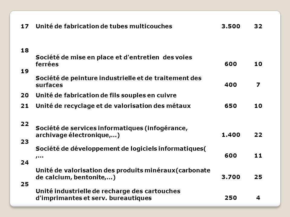 17 Unité de fabrication de tubes multicouches. 3.500. 32. 18. Société de mise en place et d entretien des voies ferrées.