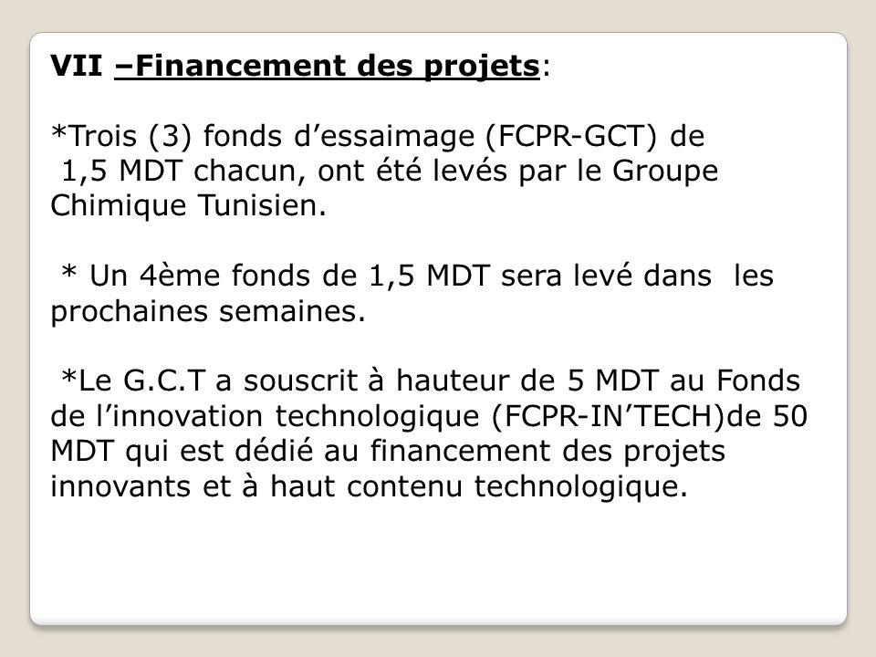 VII –Financement des projets: