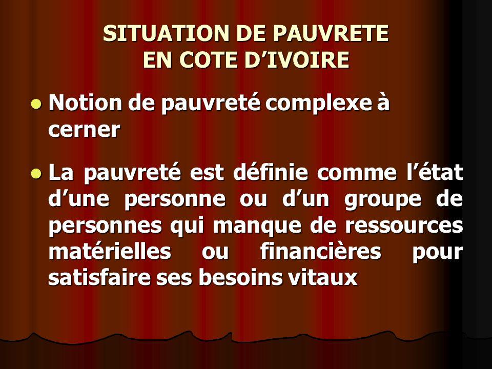 SITUATION DE PAUVRETE EN COTE D'IVOIRE