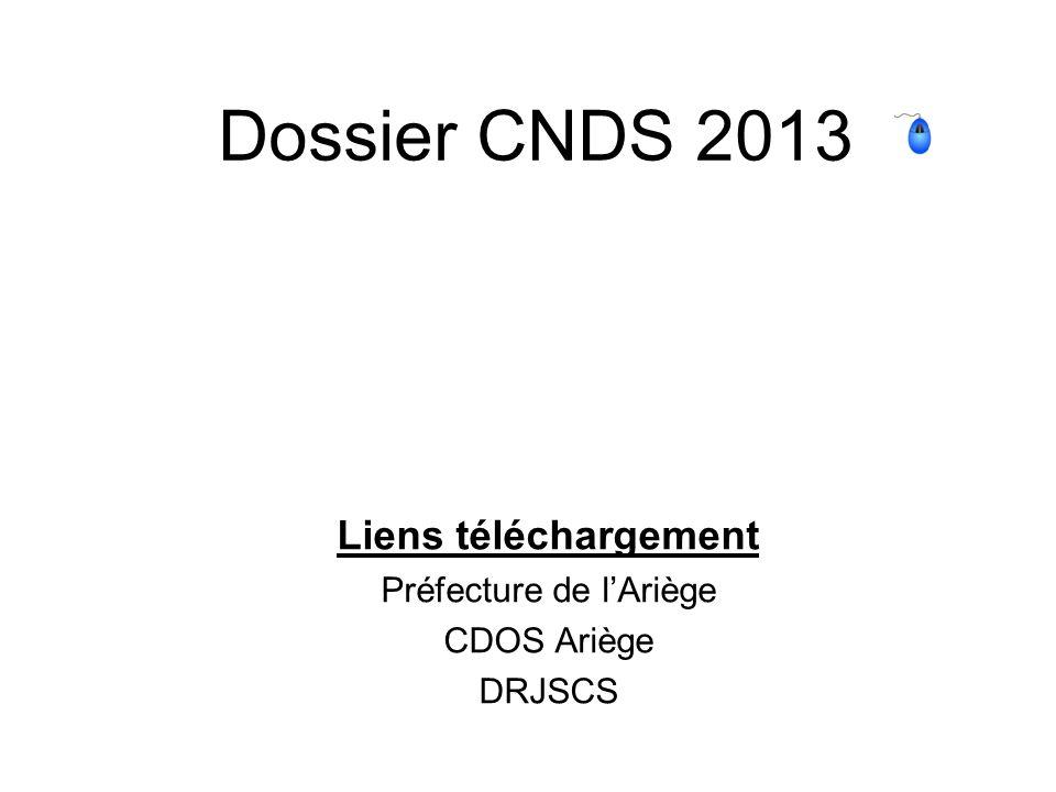 Liens téléchargement Préfecture de l'Ariège CDOS Ariège DRJSCS