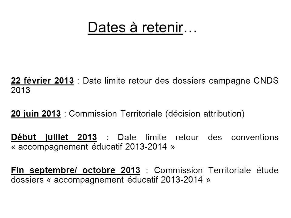 Dates à retenir… 22 février 2013 : Date limite retour des dossiers campagne CNDS 2013. 20 juin 2013 : Commission Territoriale (décision attribution)