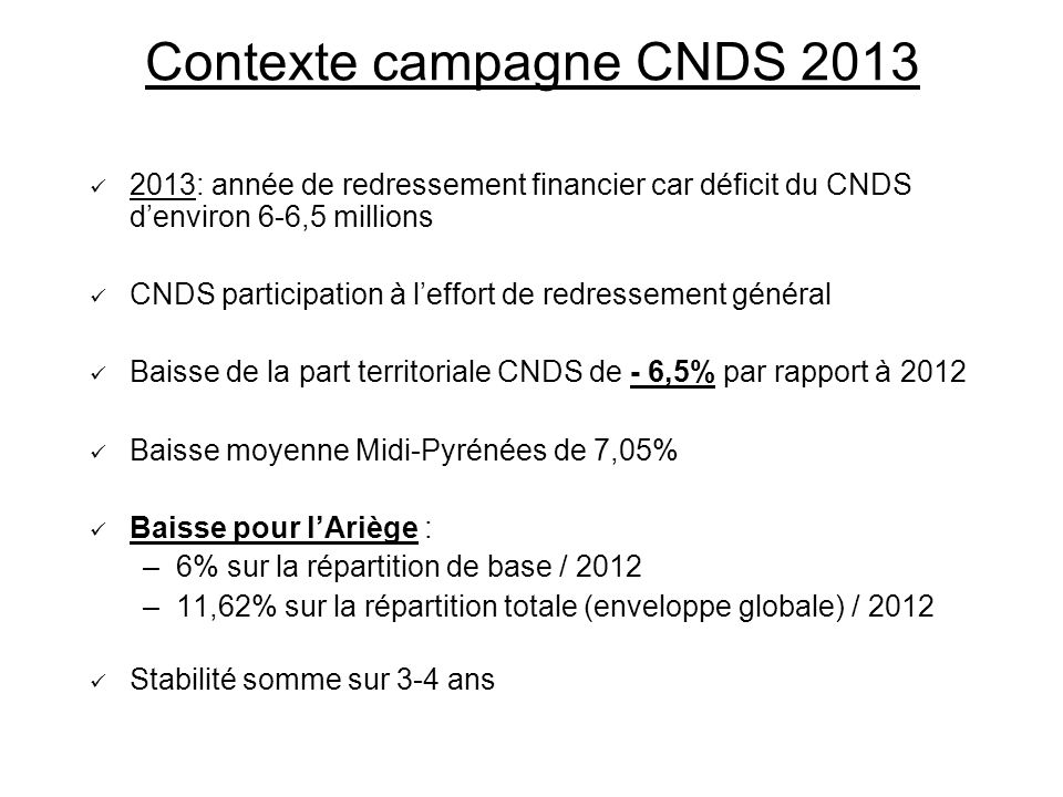 Contexte campagne CNDS 2013