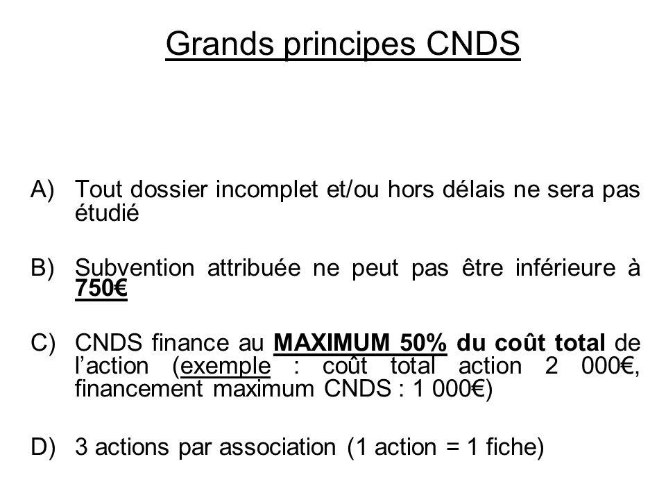Grands principes CNDS Tout dossier incomplet et/ou hors délais ne sera pas étudié. Subvention attribuée ne peut pas être inférieure à 750€