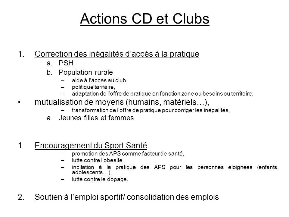 Actions CD et Clubs Correction des inégalités d'accès à la pratique