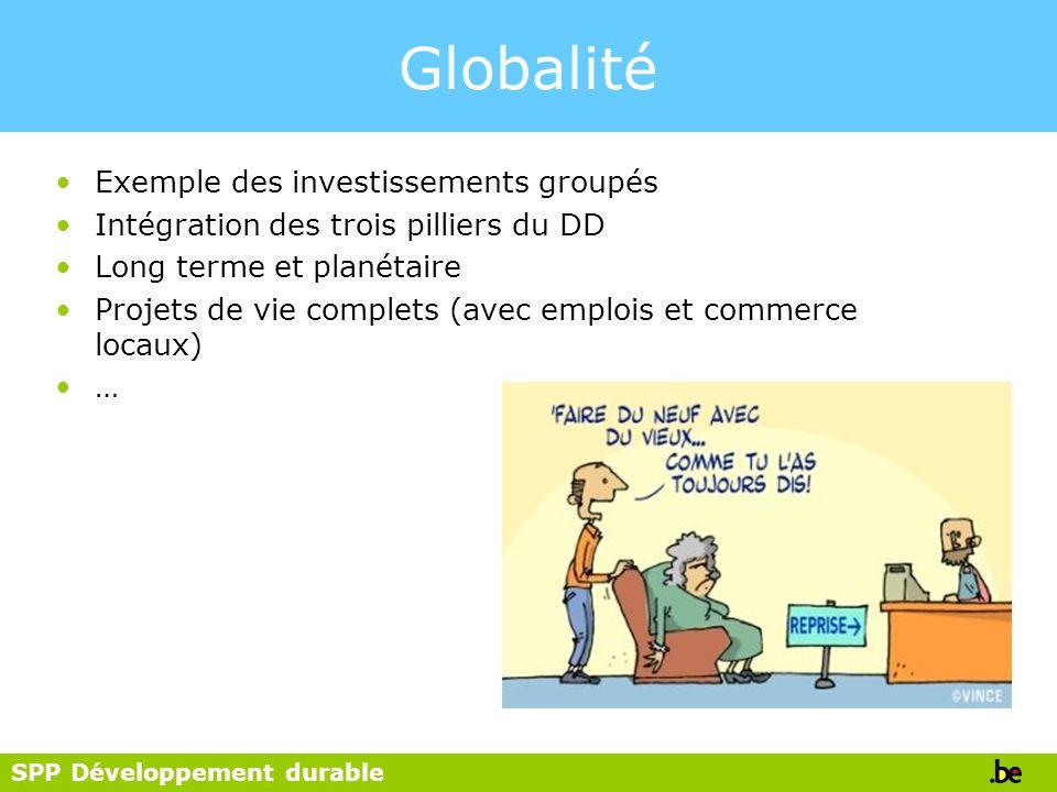 Globalité Exemple des investissements groupés