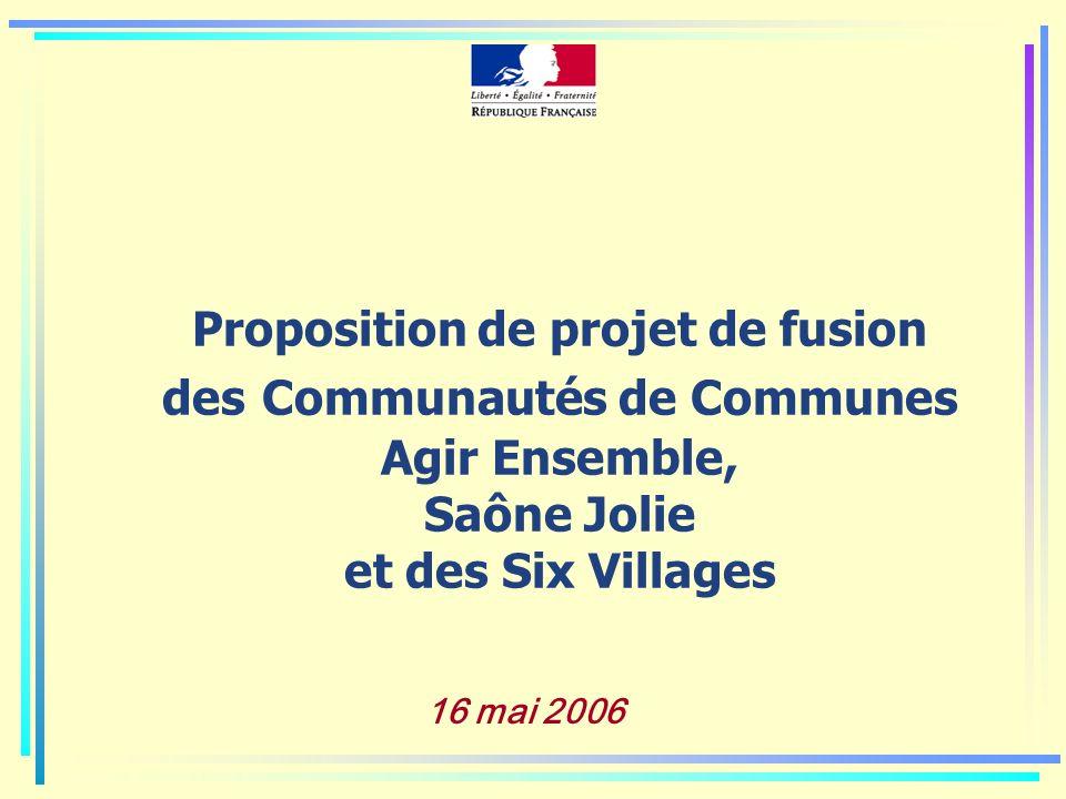 Proposition de projet de fusion des Communautés de Communes Agir Ensemble, Saône Jolie et des Six Villages