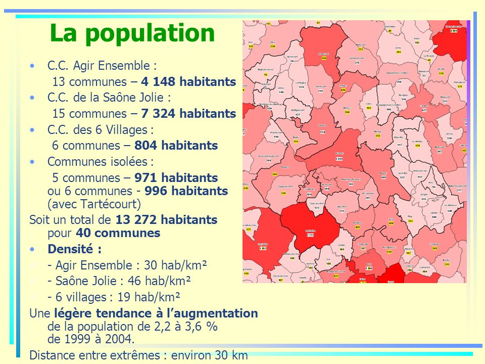 La population C.C. Agir Ensemble : 13 communes – 4 148 habitants