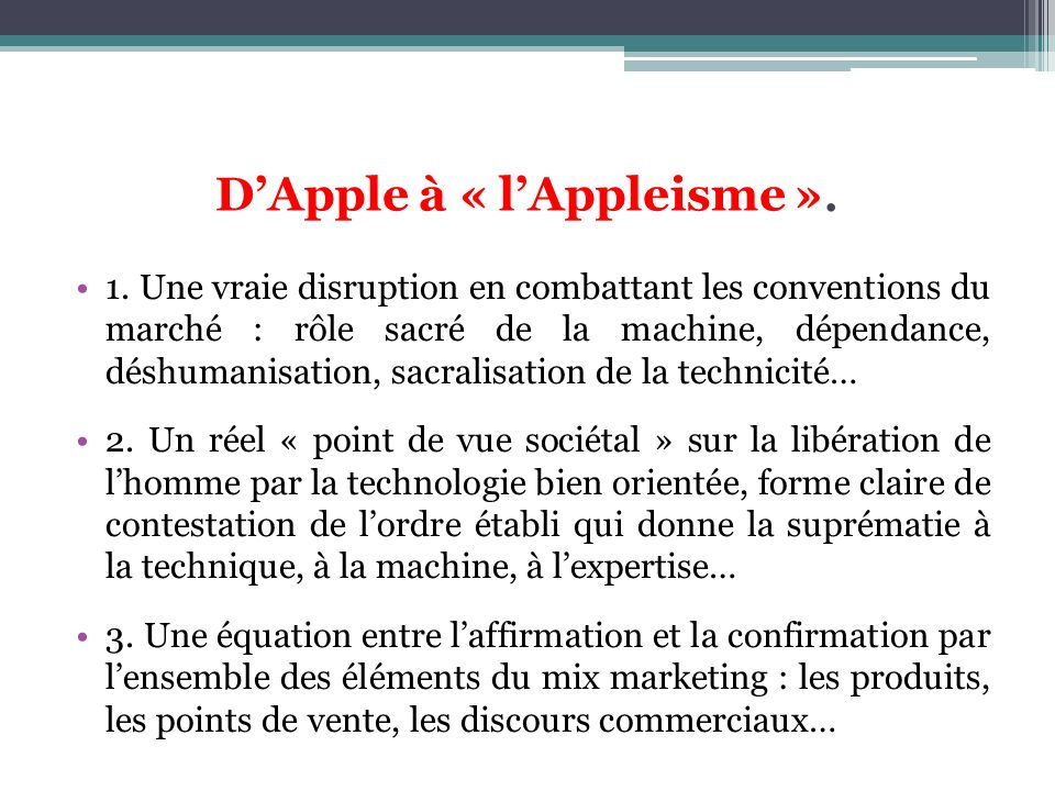 D'Apple à « l'Appleisme ».