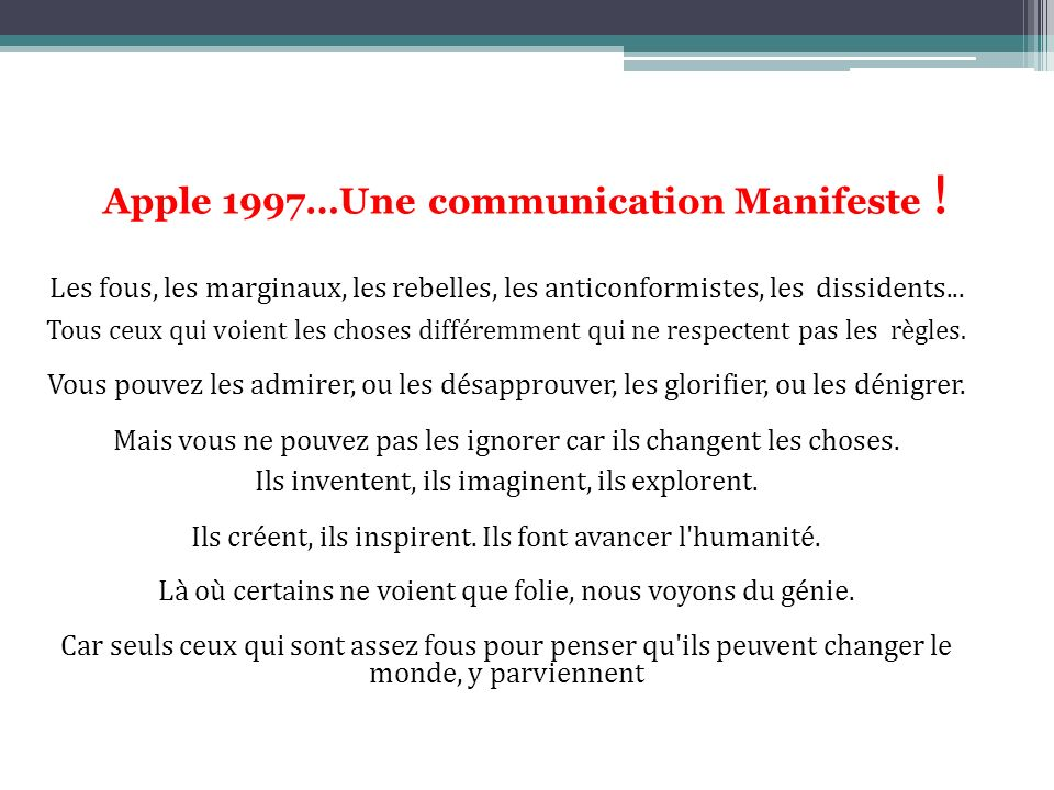 Apple 1997…Une communication Manifeste !