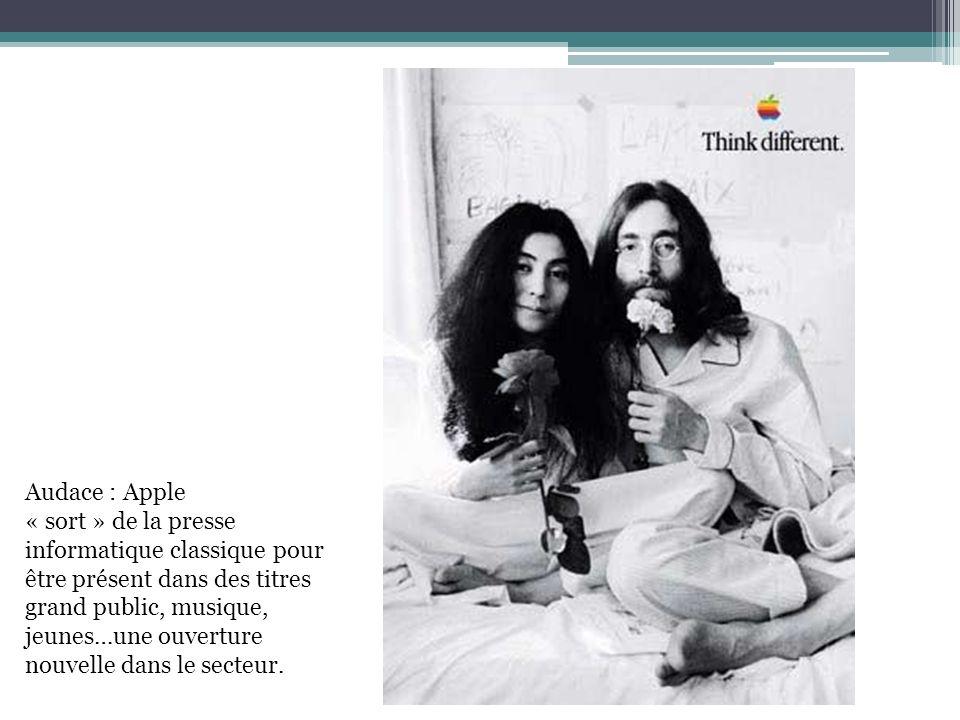 Audace : Apple « sort » de la presse. informatique classique pour. être présent dans des titres. grand public, musique,