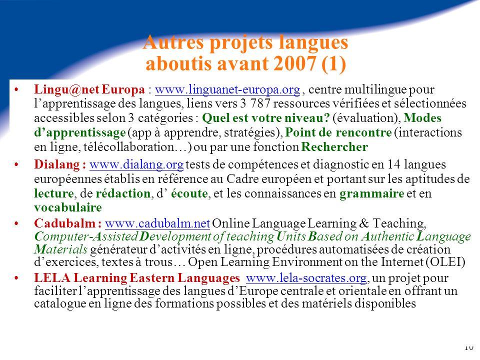 Autres projets langues aboutis avant 2007 (1)