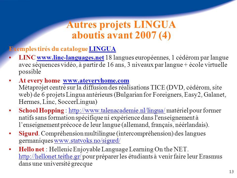 Autres projets LINGUA aboutis avant 2007 (4)