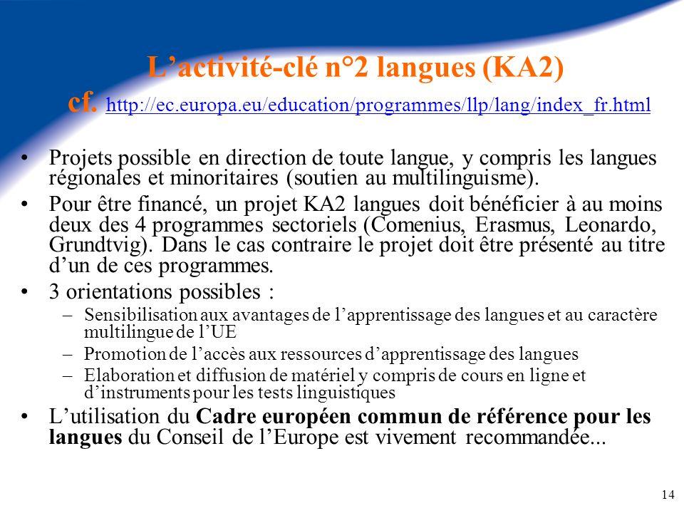 L'activité-clé n°2 langues (KA2) cf. http://ec. europa