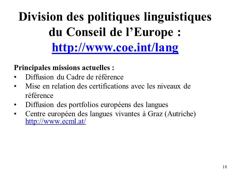 Division des politiques linguistiques du Conseil de l'Europe : http://www.coe.int/lang