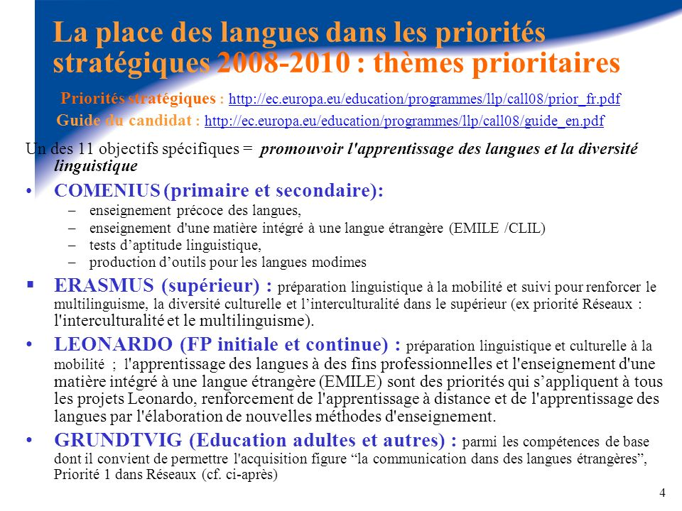La place des langues dans les priorités stratégiques 2008-2010 : thèmes prioritaires Priorités stratégiques : http://ec.europa.eu/education/programmes/llp/call08/prior_fr.pdf Guide du candidat : http://ec.europa.eu/education/programmes/llp/call08/guide_en.pdf
