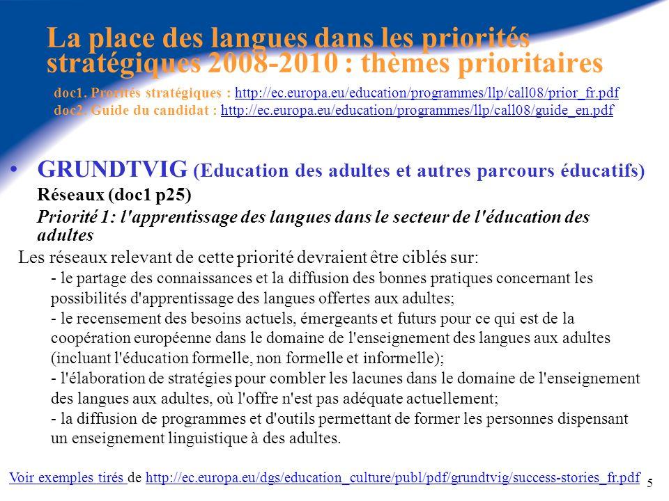 La place des langues dans les priorités stratégiques 2008-2010 : thèmes prioritaires doc1. Prorités stratégiques : http://ec.europa.eu/education/programmes/llp/call08/prior_fr.pdf doc2. Guide du candidat : http://ec.europa.eu/education/programmes/llp/call08/guide_en.pdf