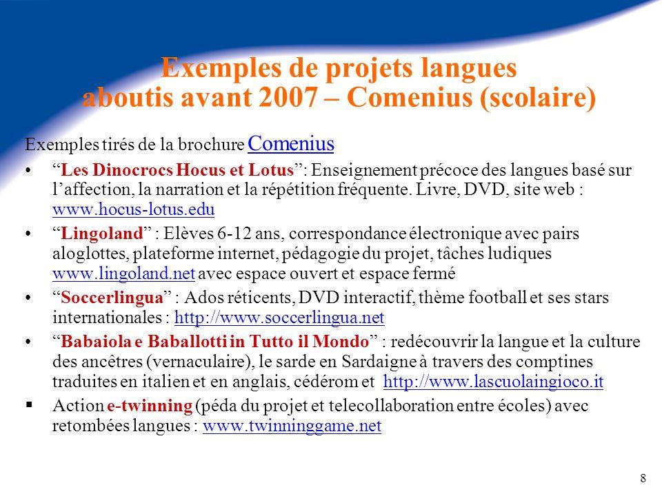 Exemples de projets langues aboutis avant 2007 – Comenius (scolaire)