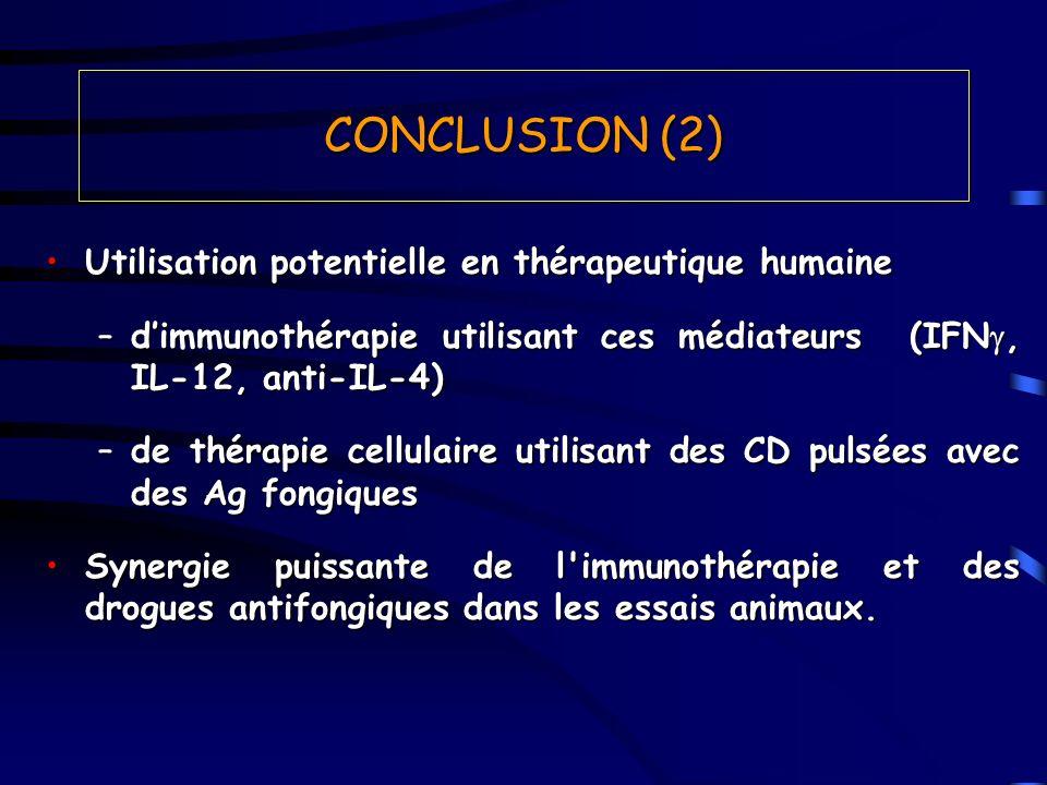 CONCLUSION (2) Utilisation potentielle en thérapeutique humaine