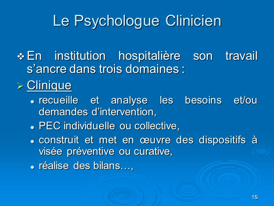 Le Psychologue Clinicien