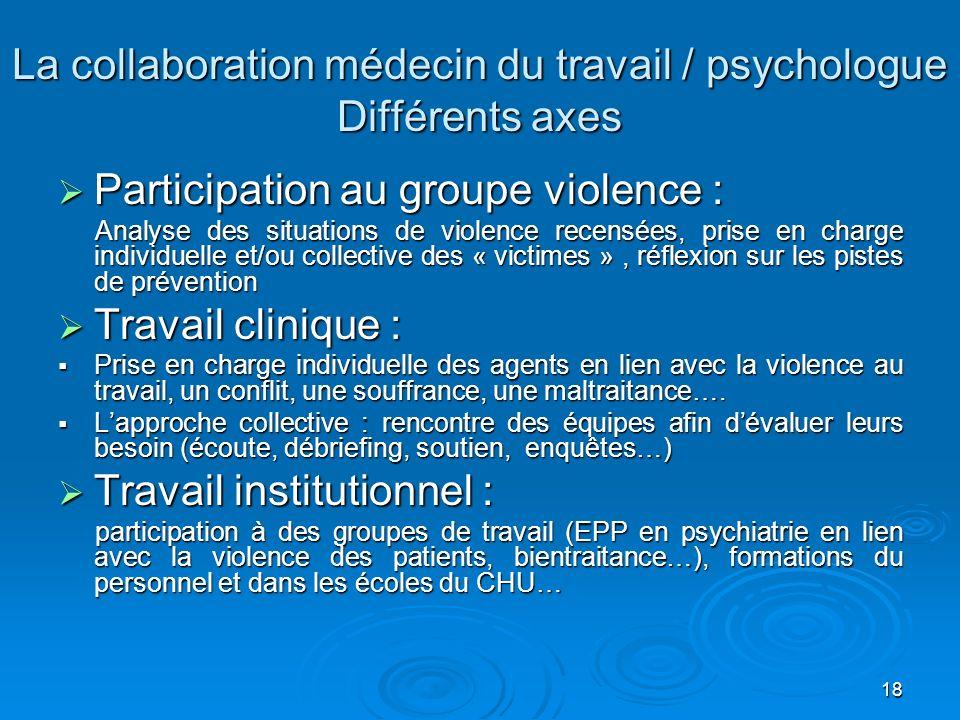 La collaboration médecin du travail / psychologue Différents axes