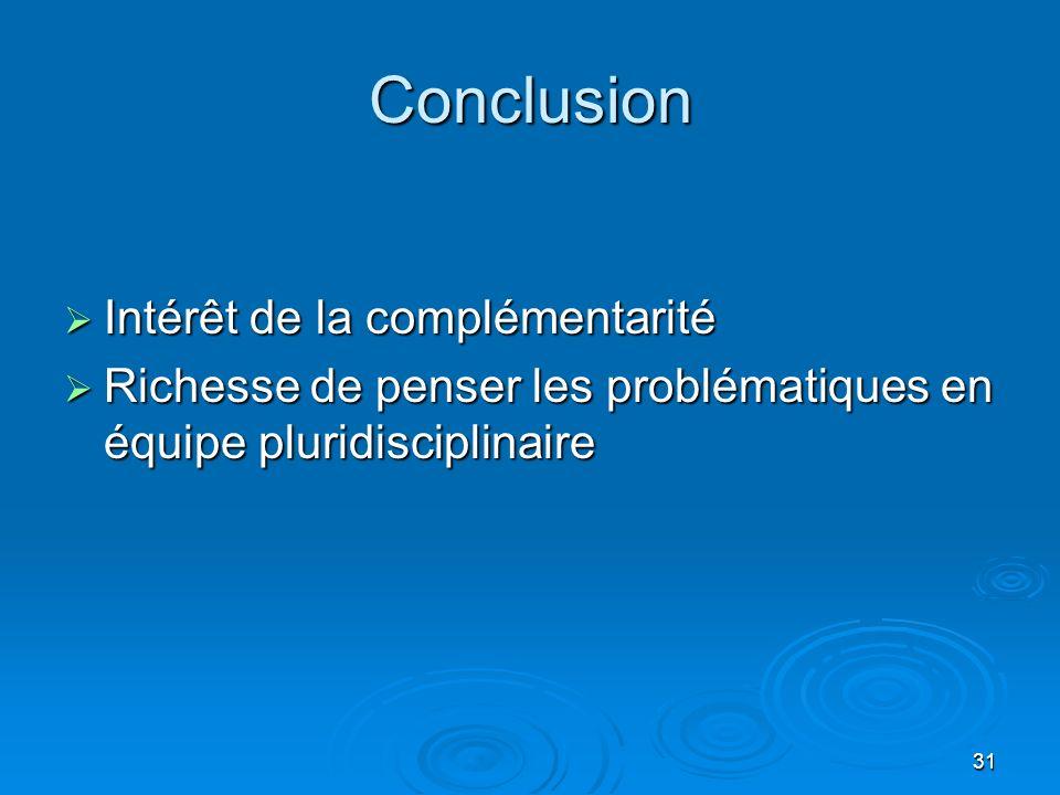Conclusion Intérêt de la complémentarité