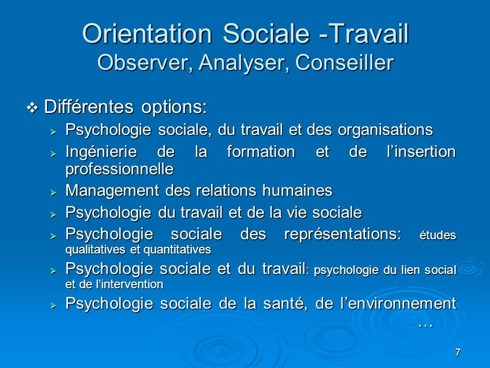 Orientation Sociale -Travail Observer, Analyser, Conseiller