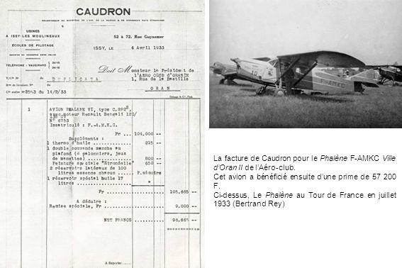 La facture de Caudron pour le Phalène F-AMKC Ville d'Oran II de l'Aéro-club.