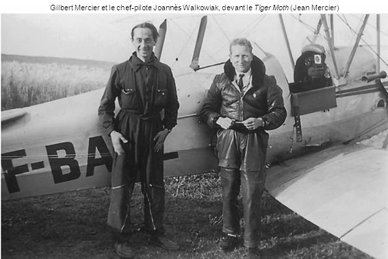 Gilbert Mercier et le chef-pilote Joannès Walkowiak, devant le Tiger Moth (Jean Mercier)