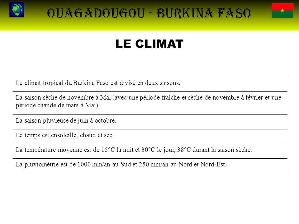 LE CLIMATLe climat tropical du Burkina Faso est divisé en deux saisons.