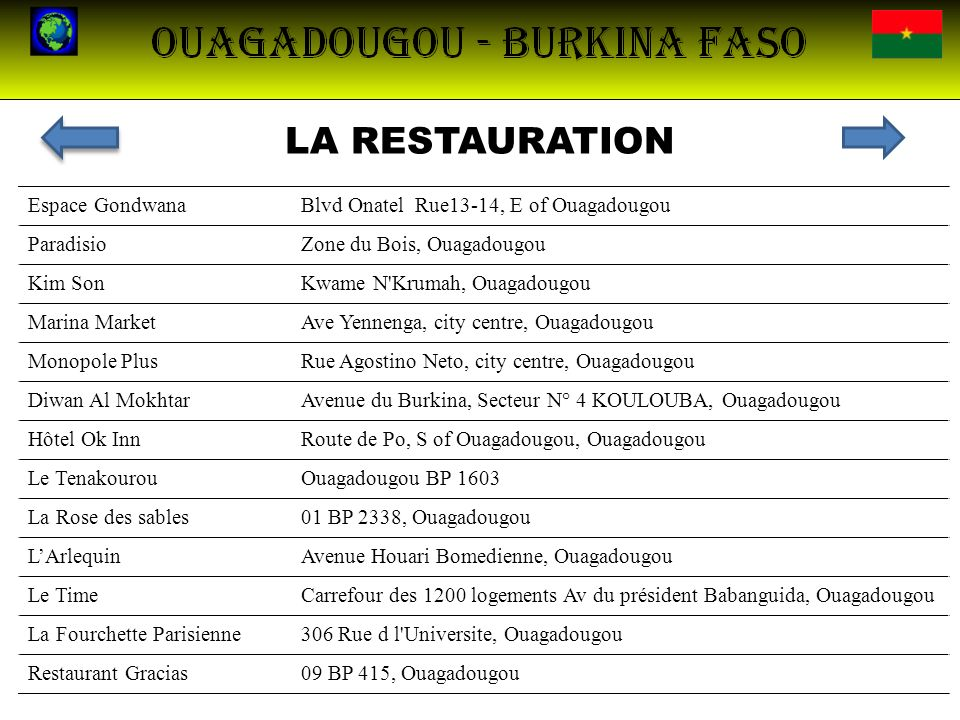 LA RESTAURATION Espace Gondwana Blvd Onatel Rue13-14, E of Ouagadougou