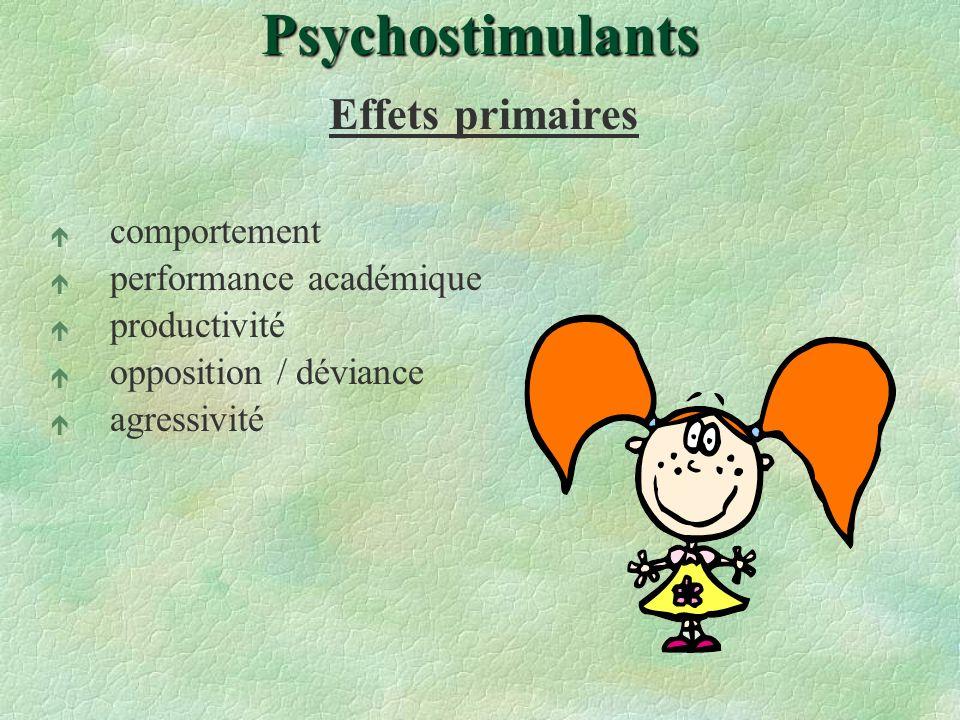 Psychostimulants Effets primaires comportement performance académique