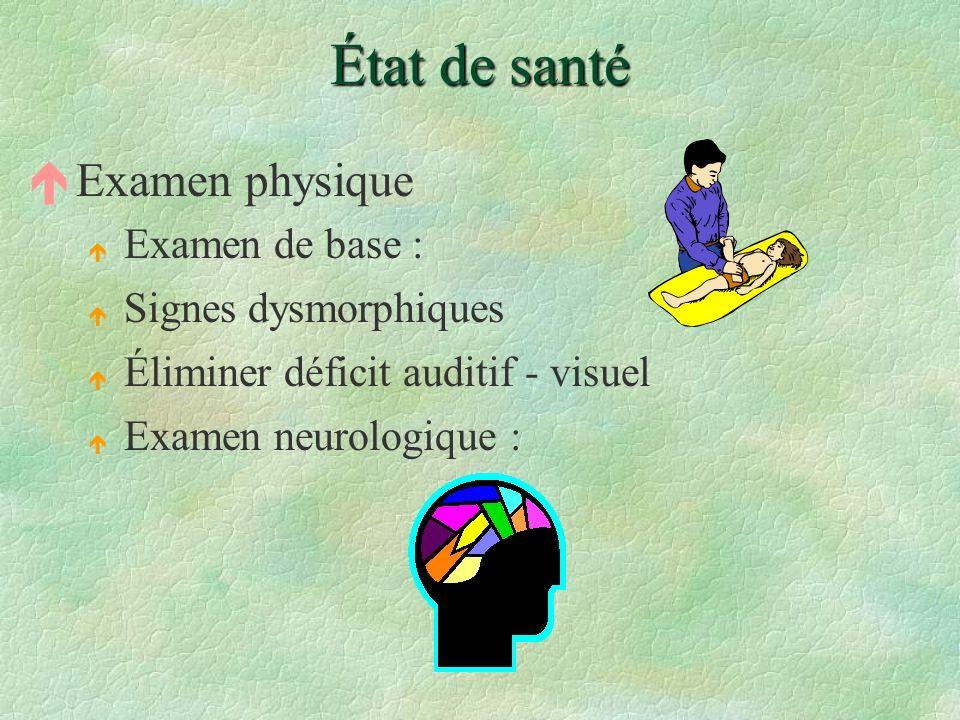 État de santé Examen physique Examen de base : Signes dysmorphiques