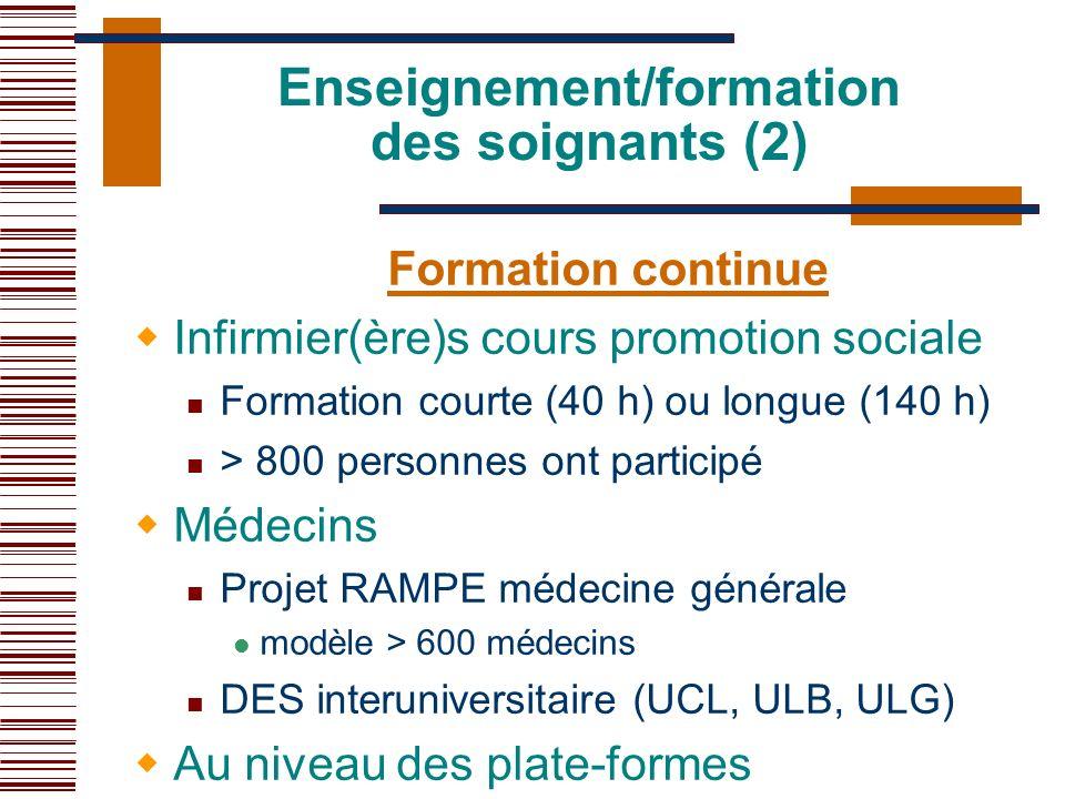 Enseignement/formation des soignants (2)