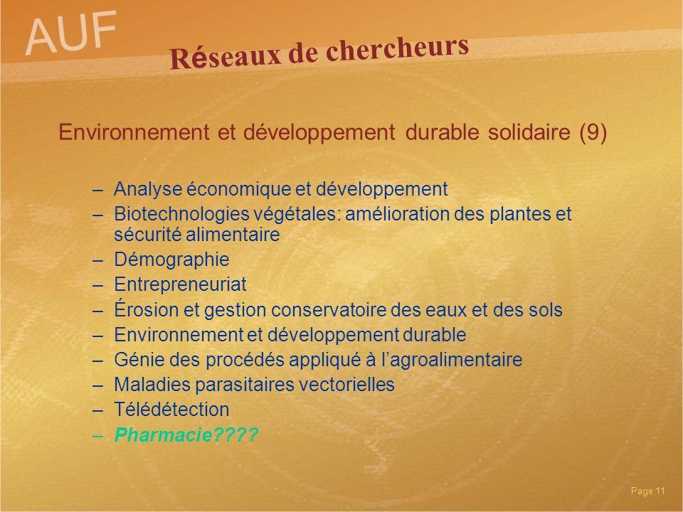 Réseaux de chercheurs Environnement et développement durable solidaire (9) Analyse économique et développement.