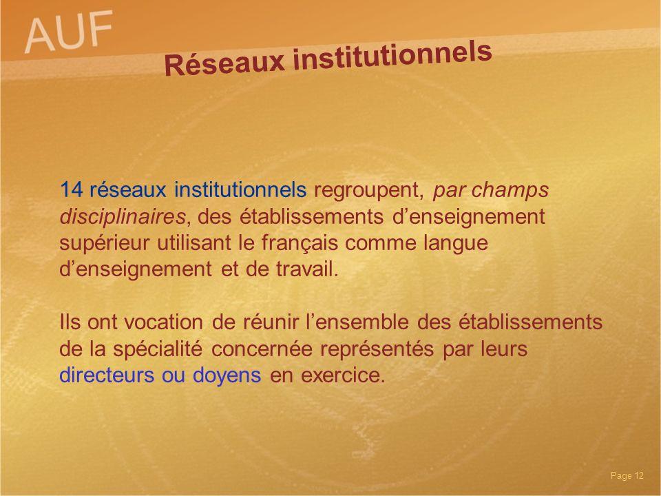 Réseaux institutionnels