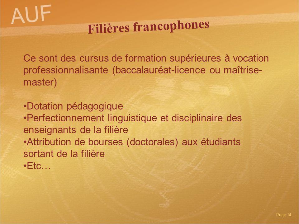 Filières francophones