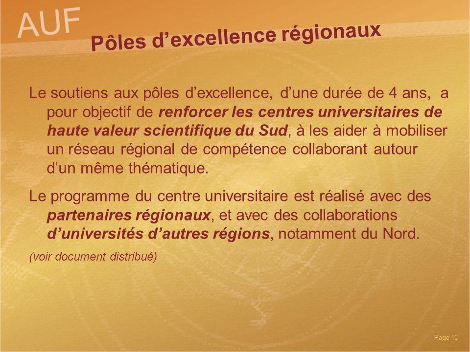 Pôles d'excellence régionaux