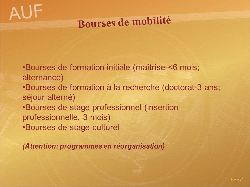 Bourses de mobilité Bourses de formation initiale (maîtrise-<6 mois; alternance)