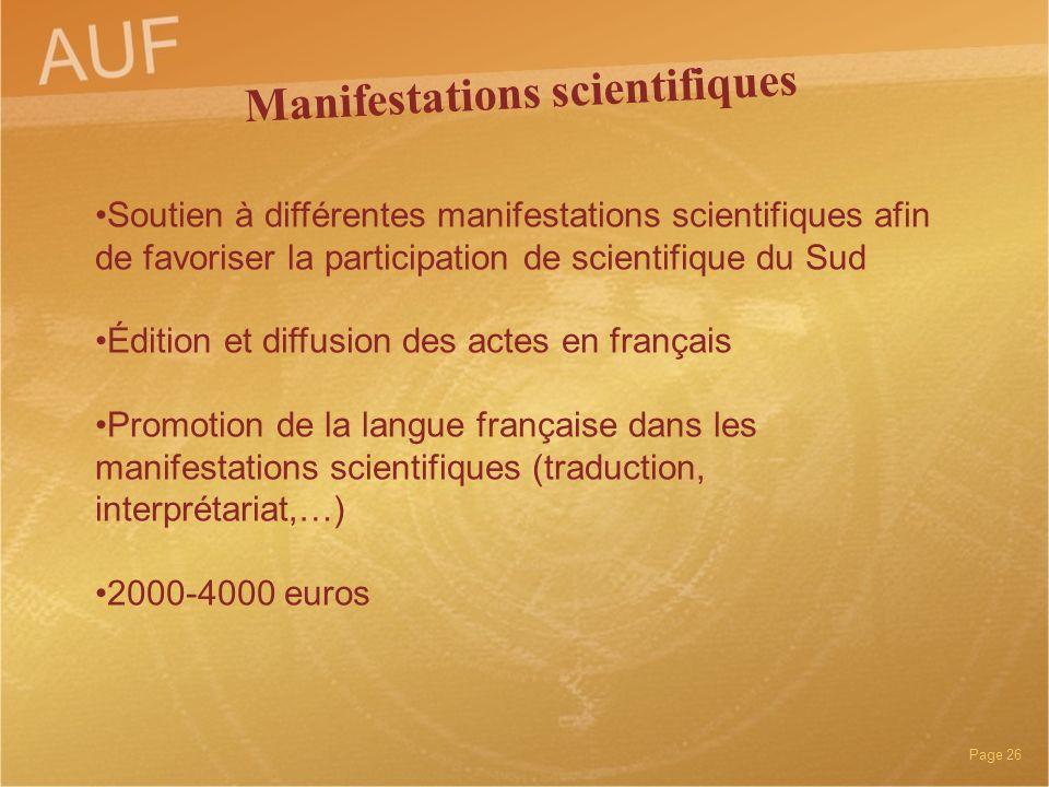 Manifestations scientifiques
