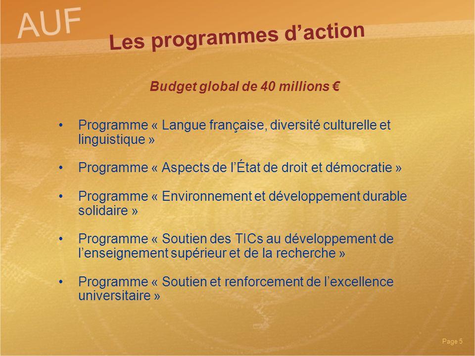 Les programmes d'action