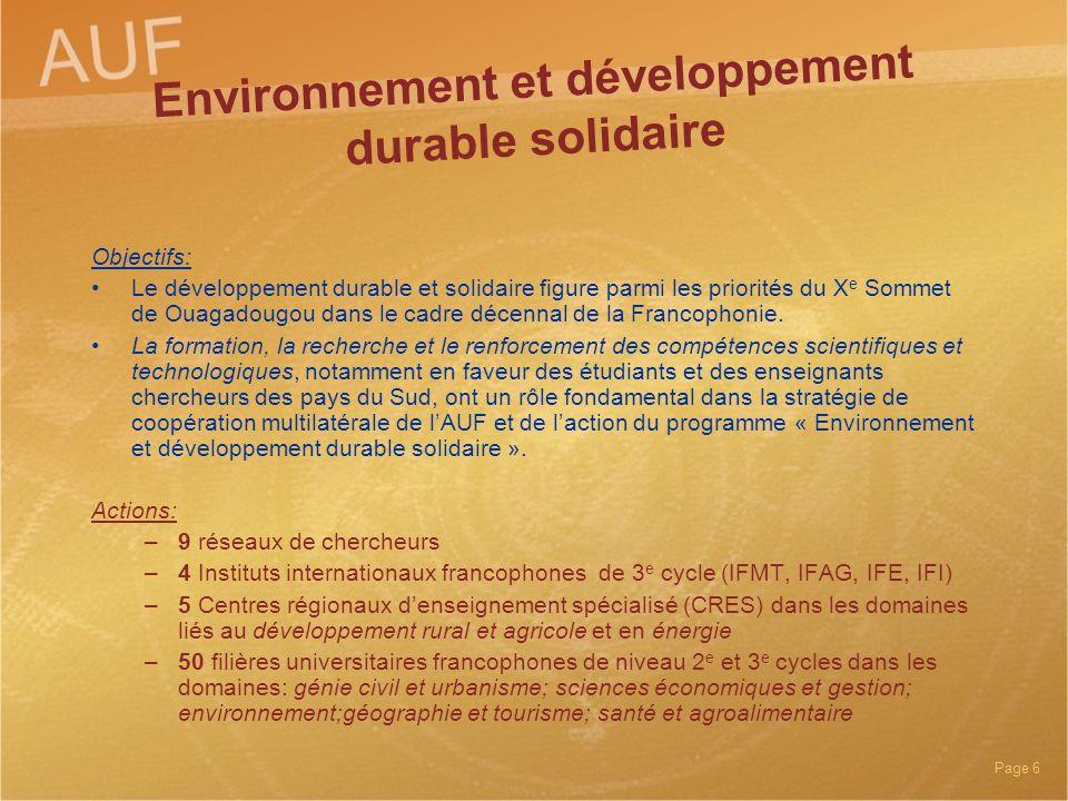 Environnement et développement durable solidaire