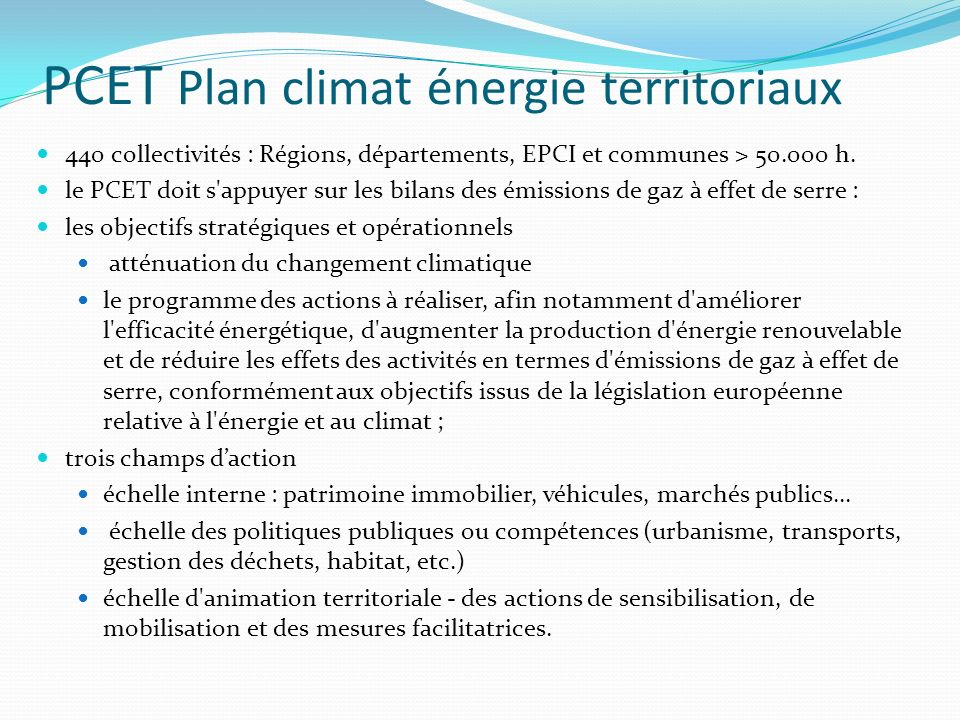 PCET Plan climat énergie territoriaux