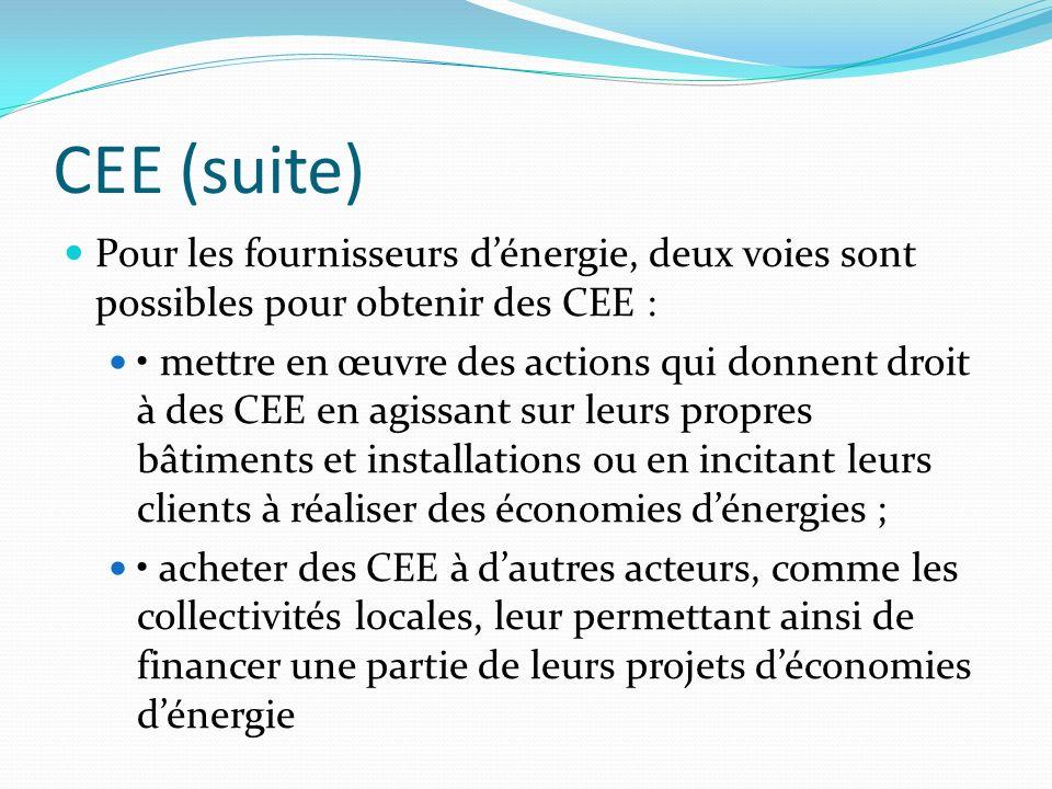 CEE (suite) Pour les fournisseurs d'énergie, deux voies sont possibles pour obtenir des CEE :