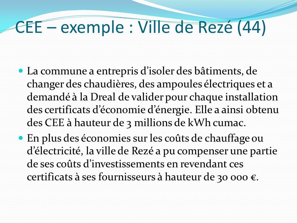 CEE – exemple : Ville de Rezé (44)