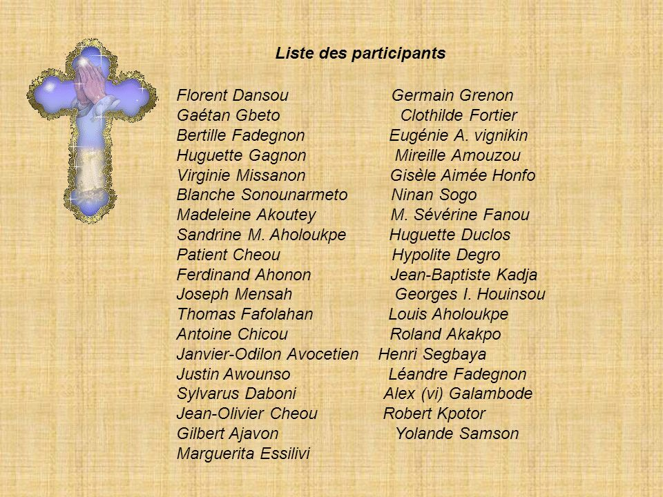 Liste des participants