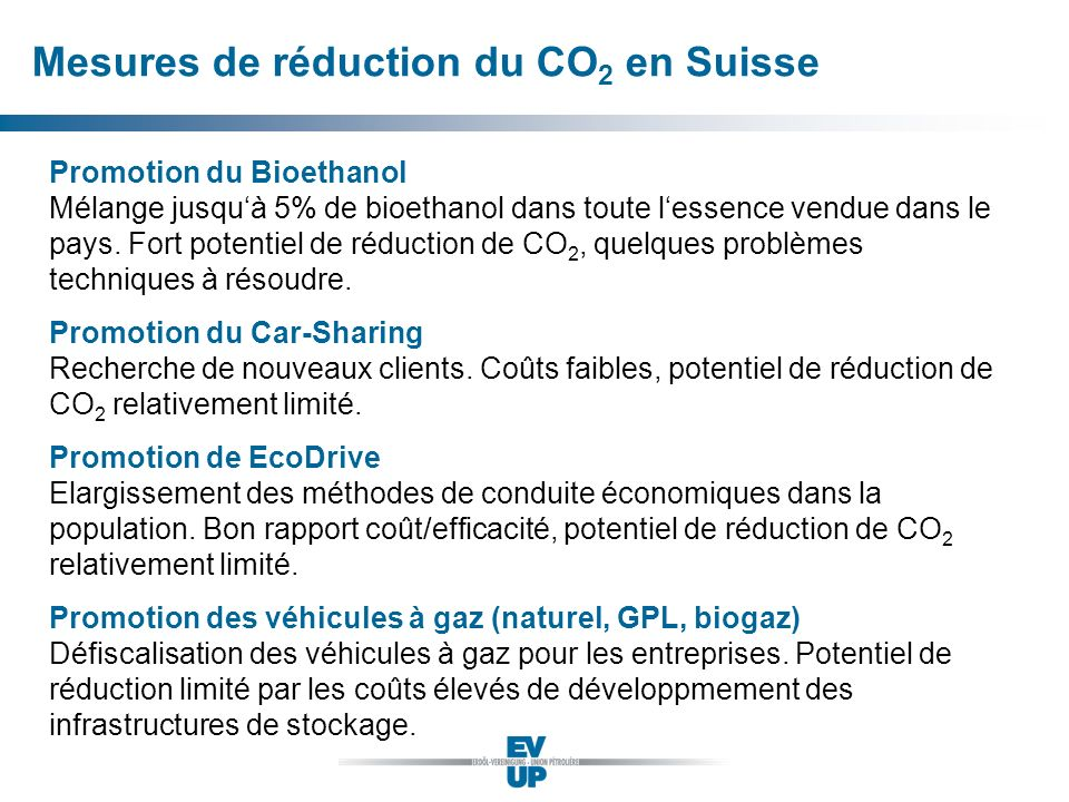 Mesures de réduction du CO2 en Suisse