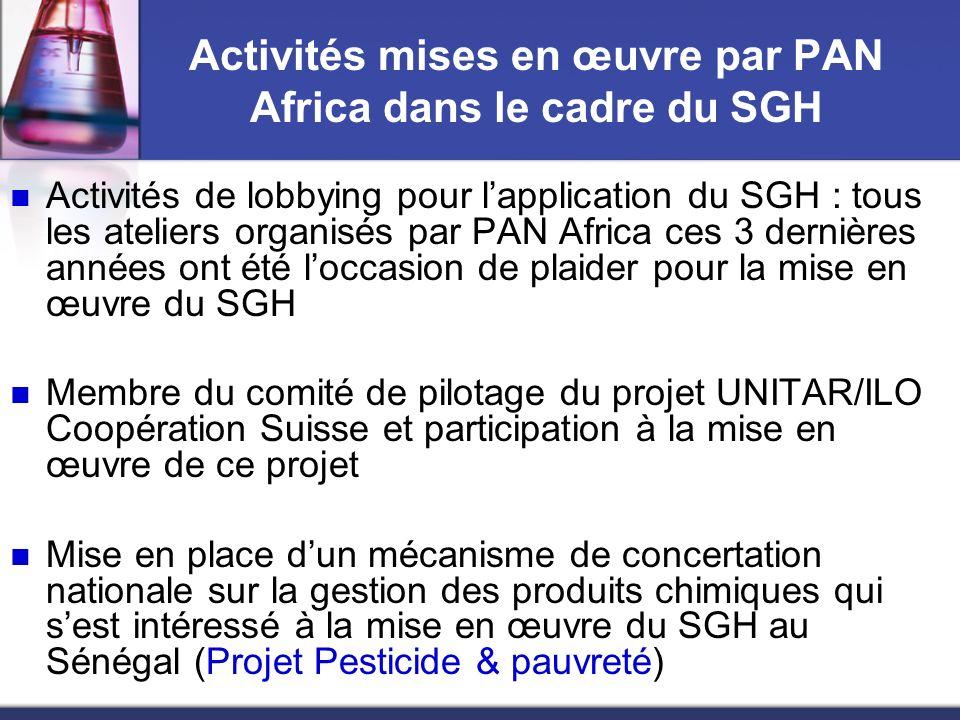 Activités mises en œuvre par PAN Africa dans le cadre du SGH